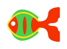 Decorative Fish flat icon vector isolated on white background. Fish flat icon vector isolated on white background. Vector image of funny cartoon smiling fish Royalty Free Stock Image