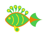 Decorative Fish flat icon vector  on white background. Fish flat icon vector  on white background. Vector image of funny cartoon smiling fish flat. Fish flat Stock Image