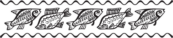 Decorative Fish Pattern. Black and White Royalty Free Stock Photography