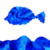 Decorative fish. Watercolor decorative fish with blue water, design element Royalty Free Stock Images