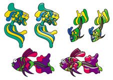 Decorative fishes in stained glass style Stock Photography