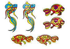 Decorative fishes in stained glass style Royalty Free Stock Images