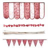 Decorative flags and ribbons. Watercolor Pink set of elements for Valentine`s day. Scrapbook design elements. Typography Stock Image