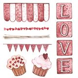 Decorative flags and ribbons. Watercolor Pink set of elements for Valentine`s day. Scrapbook design elements. Typography Stock Photo