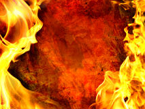 Decorative flame. On grunge and rust background Royalty Free Stock Photo
