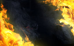Decorative flame on black. Decorative flame with smoke on black background Royalty Free Stock Photography