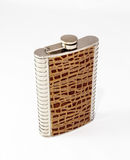 Decorative flask made of stainless steel decorated with crocodil Stock Photography
