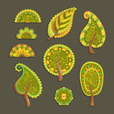 Decorative flat style vector trees Stock Photo