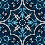 Decorative floor. Dark blue ornament decorative marble royalty free illustration