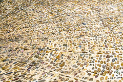 Decorative floor pattern of gravel stones. Gravel texture background Stock Photos