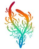 Decorative floral. Colorful rainbow floral element isolated Stock Photography