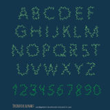 Decorative floral alphabet. Scribble floral wood alphabet. Royalty Free Stock Photography