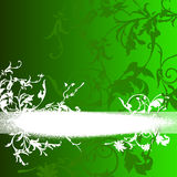 Decorative floral background. Illustration of decorative floral background with white banner on green and copy space Royalty Free Stock Photo