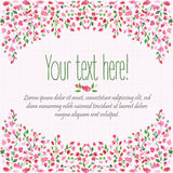 Decorative floral background. Birthday card. Hand drawn watercolor frame. Spring time. Royalty Free Stock Photos