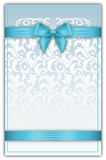 Decorative floral background with blue ribbons and bow. Floral background with elegant bow and ribbons. Gift or invitation card design Royalty Free Stock Photography