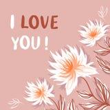 Decorative floral background. Decorative floral corner background with inscription `I love you` vector illustration stock illustration