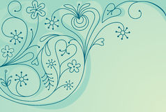 Decorative floral background with hearts stock illustration