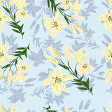 Decorative floral background with lilies. Floral decorative background with blue lilies stock illustration