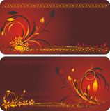 Decorative floral background for two cards stock photography