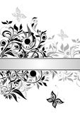 Decorative floral banner (black and white) Stock Photo