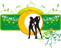 Decorative floral banner with silhouettes of girls. Vector illustration Stock Photo