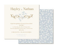 Decorative floral border and semmless pattern. Wedding invitation. Stock Images