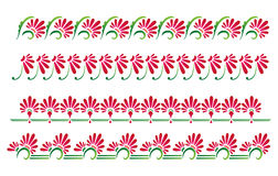 Decorative floral borders. Set of pink and green decorative floral borders. Vector available Stock Photography