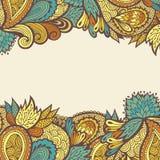 Decorative floral card design, template for invitation. Flower background border Vector Illustration