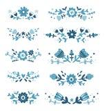 Decorative floral compositions set 2. Decorative blue floral compositions collection Stock Photography