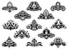 Decorative floral design elements and motifs. Decorative floral elements and motifs set isolated on white for design and ornate Royalty Free Stock Photo
