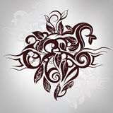 Decorative floral design. Vector illustration. Black and white decorative floral symbol Stock Image