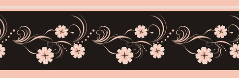 Decorative floral element for design of ribbon Stock Photos