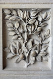 Decorative floral element limestone medieval temple. Paris, France. Stock Photo