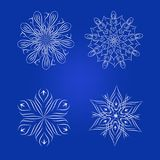 Decorative floral element Set, snowflakes Royalty Free Stock Photography