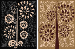 Decorative floral elements on grunge texture Royalty Free Stock Image