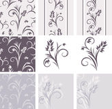 Decorative floral elements for vintage design stock images