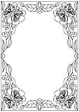 Decorative floral   frame coloring page. Isolated Stock Photos