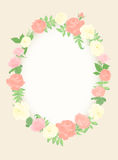 Decorative floral frame. Flower frame for registration of weddings, postcards and invitations Royalty Free Stock Photo