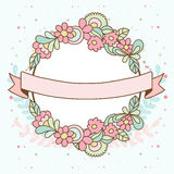 Decorative floral frame with pink flowers and leaves. Wedding, b Stock Images