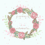 Decorative floral frame with pink roses and leaves. Wedding, bir Royalty Free Stock Image