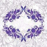 Decorative floral frame. Vintage purple decorative floral frame Stock Photos