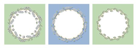 Decorative floral frames set with green leaves and branches. Cartoon hand drawn elements for web pages, wedding invitations, save stock illustration