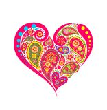 Decorative floral heart shape with paisley Stock Images