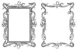 Decorative floral modern style frames. Hand drawn outline vector image Stock Images