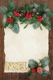 Decorative Floral Noel Border Stock Photography