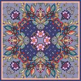 Decorative floral ornament. Bandana prints, kerchief design, tablecloths and napkins. Royalty Free Stock Image