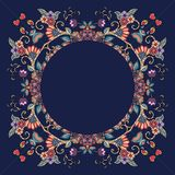 Decorative floral ornament  Beautiful frame on dark blue background. Royalty Free Stock Photos