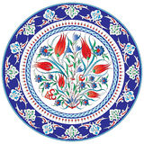 Decorative floral painted plate. Closeup of decorative painted plate with floral design, white background vector illustration