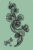 Decorative floral pattern with birds, hand-drawing. Vector illus Royalty Free Stock Photo
