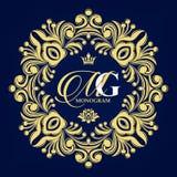 Decorative floral pattern. Gold graceful frame. Heraldic symbols. royalty free illustration